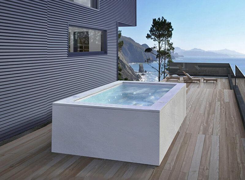 vasca idromassaggio da esterno terrazzo